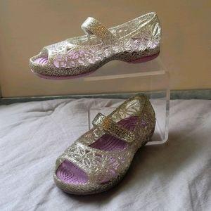 Crocs Glitter Sandal - Silver & Purple-Sz 8